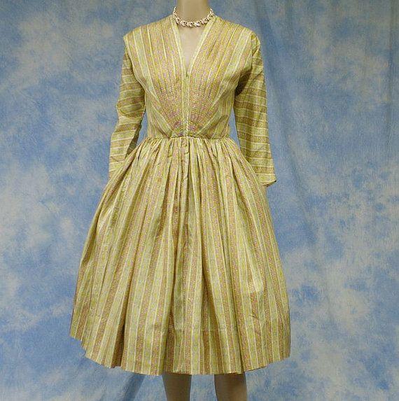 Vintage 50s Designer Anne Fogarty Silk Full Skirted Cocktail Dinner Party Dress, Size XS