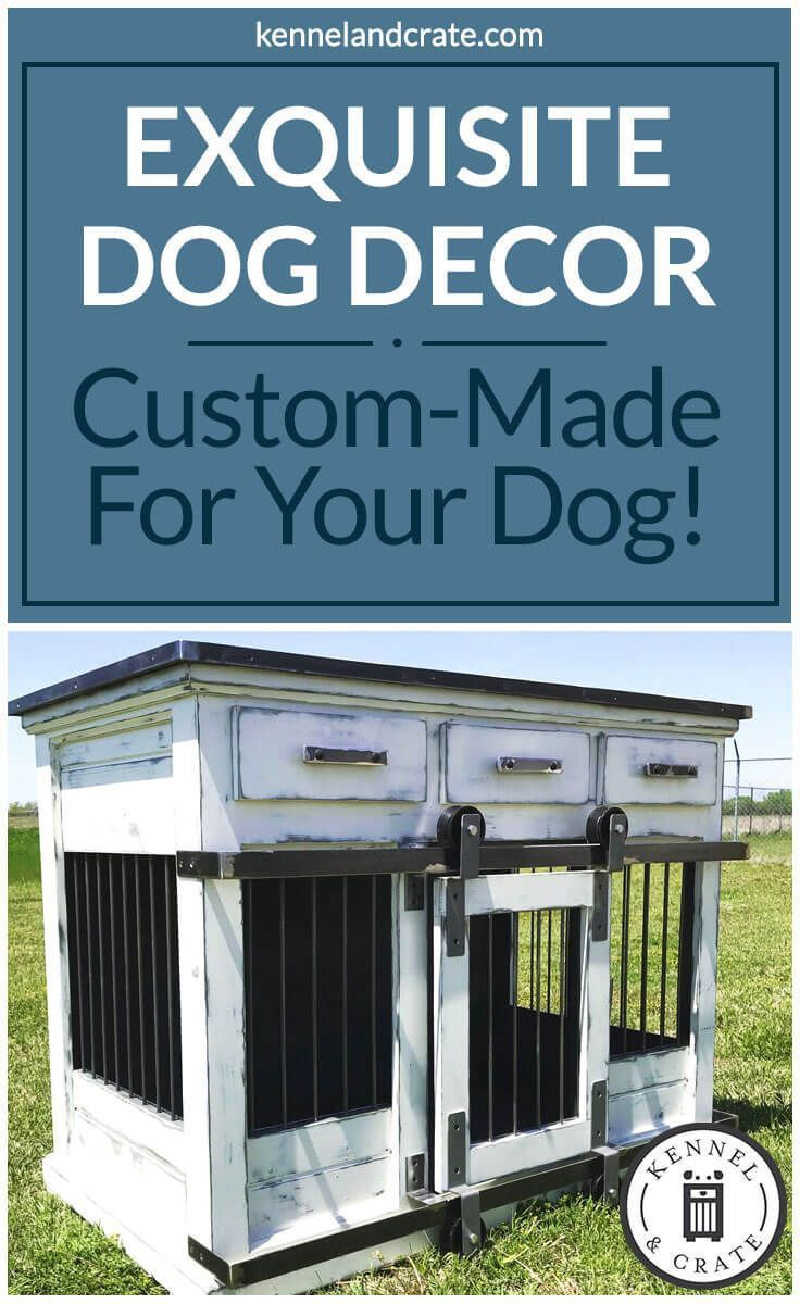 We create furniture for your dog(s); our crates double as entry tables, kitchen islands, coffee bars, credenzas, buffet tables, desks, dressers, nightstands, end tables, & entertainment pieces. #Dogkennel #dogcrate