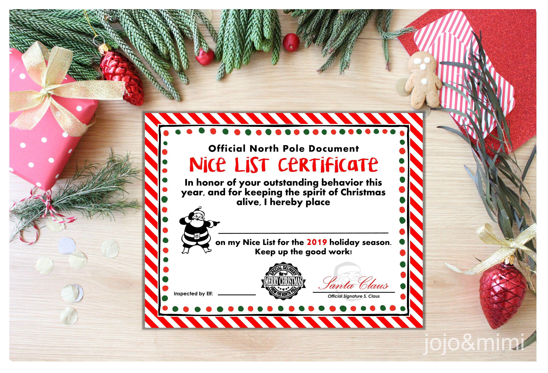 Instant Nice List Certificate 2019 Christmas Letter From Santa Nice List Kids Christmas Letter Nice List Certificate Kids Christmas Letter Christmas Lettering Free printable nice list certificate