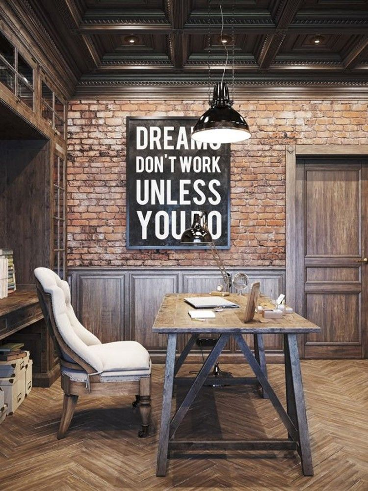 Attirant Home Decor Ideas With Typography   Inspirational Wall Art Complete The Look  In This Industrial Study Space.