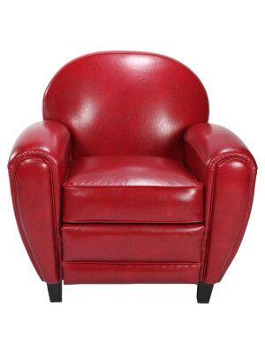 """Fauteuil """"Club"""" en cuir et bois rouge 86 5 x 83 x 84 5 cm"""