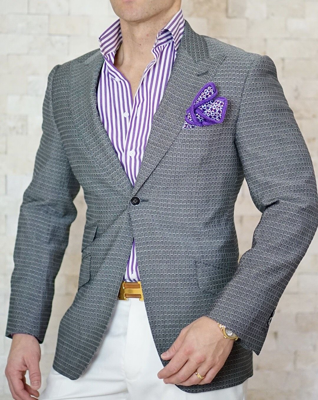 S By Sebastian Violet Awning Stripe Dress Shirt Suit Fashion Mens Fashion Casual Swag Outfits