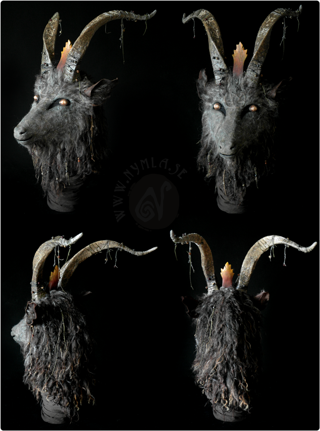 Goat mask devil demon leather horn costume cospaly larp ...