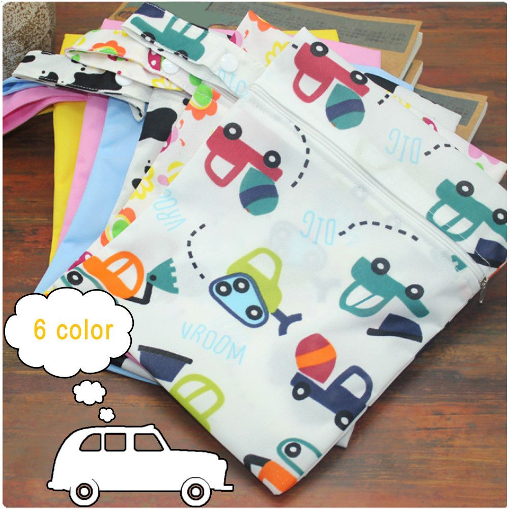 Infant Waterproof Reusable Zip Wet Dry Bag Lovely Cloth Diaper Nappy Blue