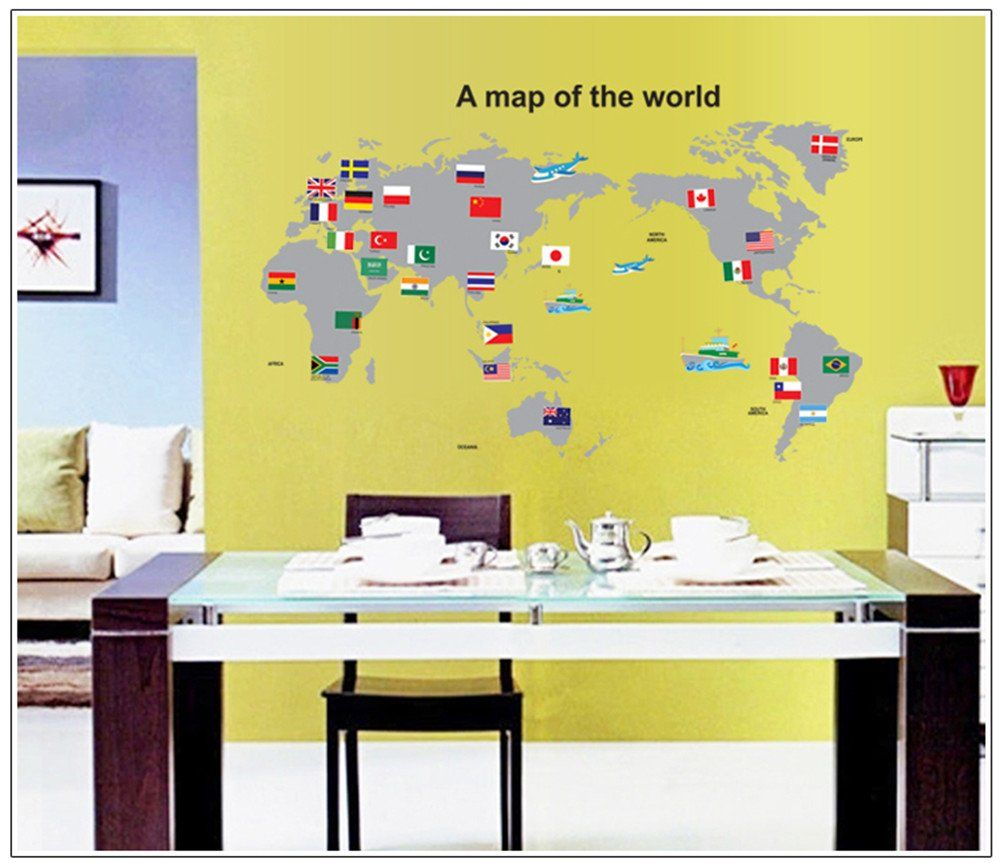 Amazon.com - Blanche Lynn Living Room/ Bedroom/ Office World Map DIY ...