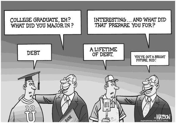 political cartoons on college debt | Loan Debt - English