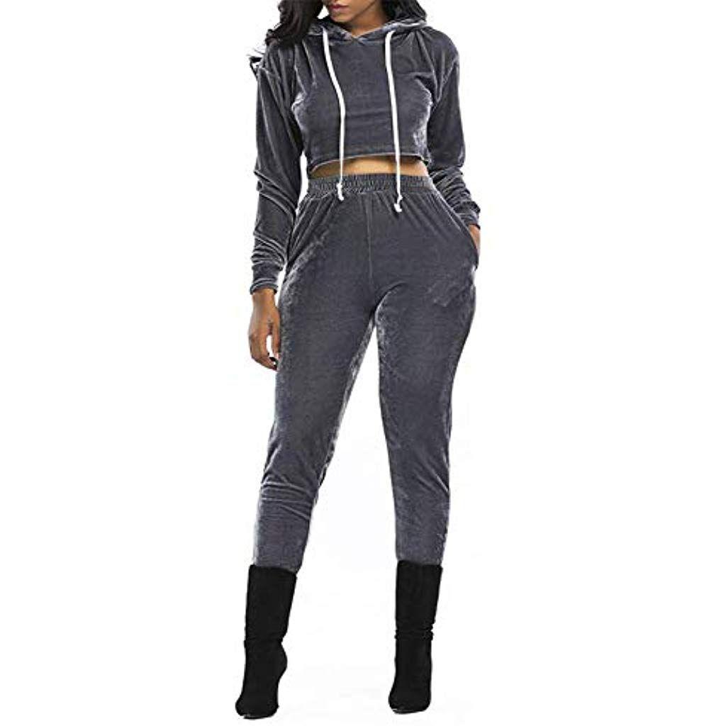 YAOHEL Damen Trainingsanzug Velours Sweatshirt und Hosemit Kapuze/Taschen|S-XL #Bekleidung #Damen #Kleider #Sport-Freizeit #Fan-Shop #American Football #Bekleidung #Trikots #Damen #Bekleidung #Damen #kleidersale
