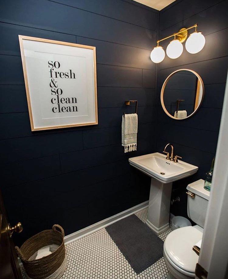 The Best of #framebridge 2016   Navy blue bathroom decor ...