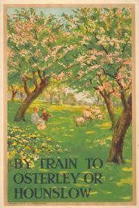 "illustration UK : affiche de tourisme, ""to Osterley or Hounslow"", vergers, arbres"