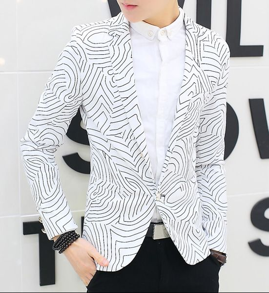 White Curved Lines Stylish Blazer Fashion Suits For Men Stylish Blazer Modern Suits