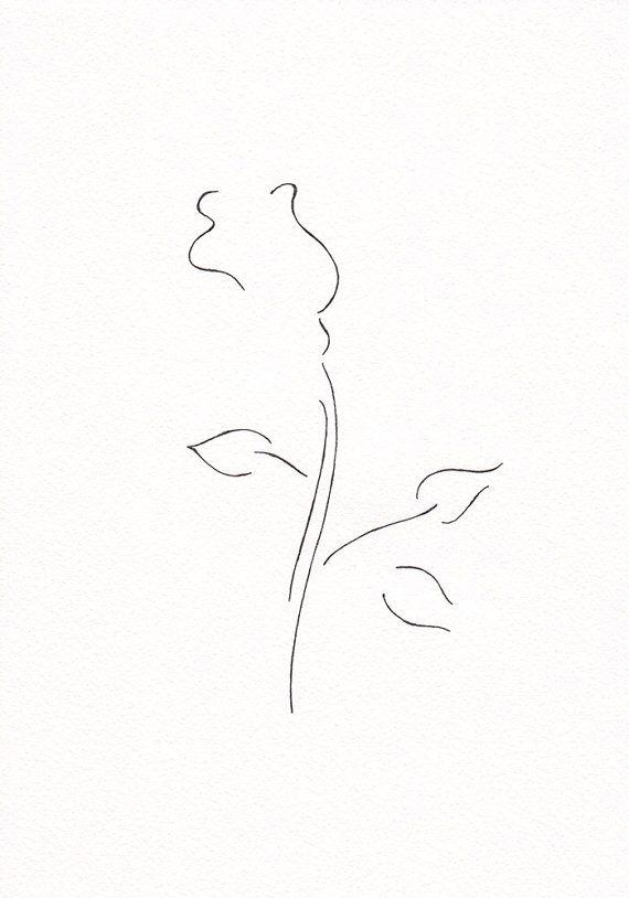Minimalist Line Art : Minimalist rose drawing original line art black and by
