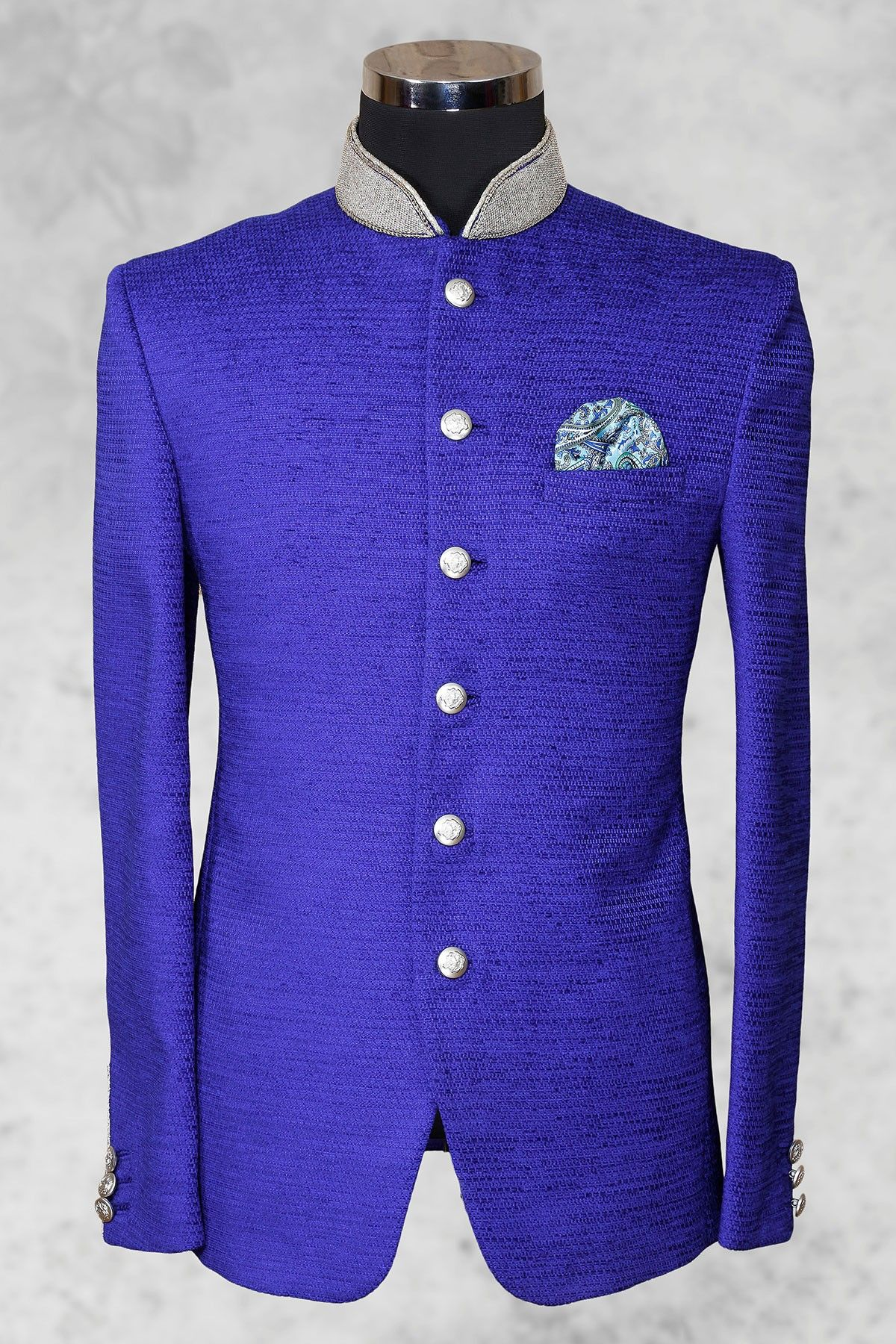 Royal blue presentable jute suit with bandhgala collarst