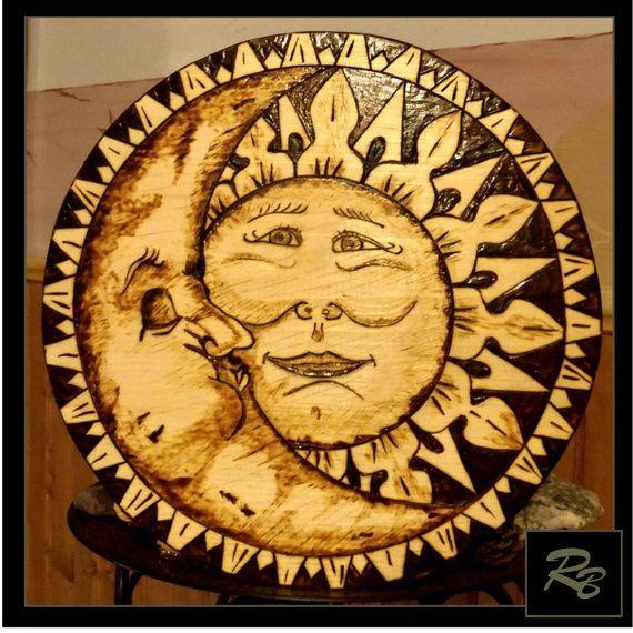 Sun and moon art, celestial art, sun and moon,tree of life art,wolf ...