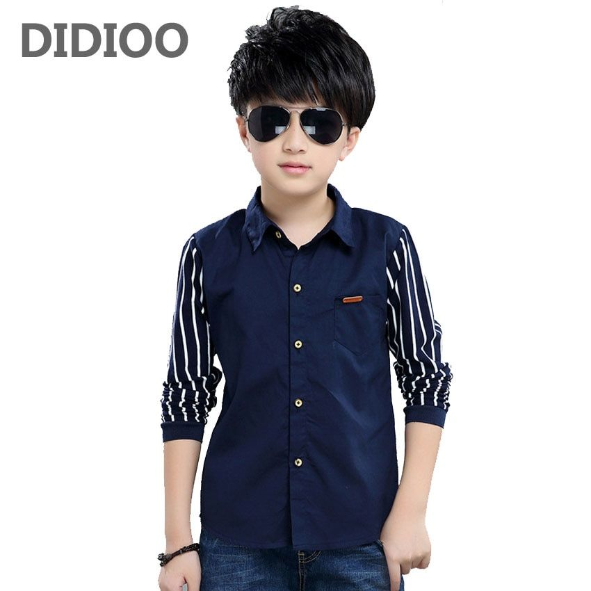 Striped Shirts For Boys Clothing Children Tops Patchwork Letter School Boys  Blouses Spring Autumn Kids Clothes 4 6 8 10 1…   Kids outfits, Children tops,  Denim baby