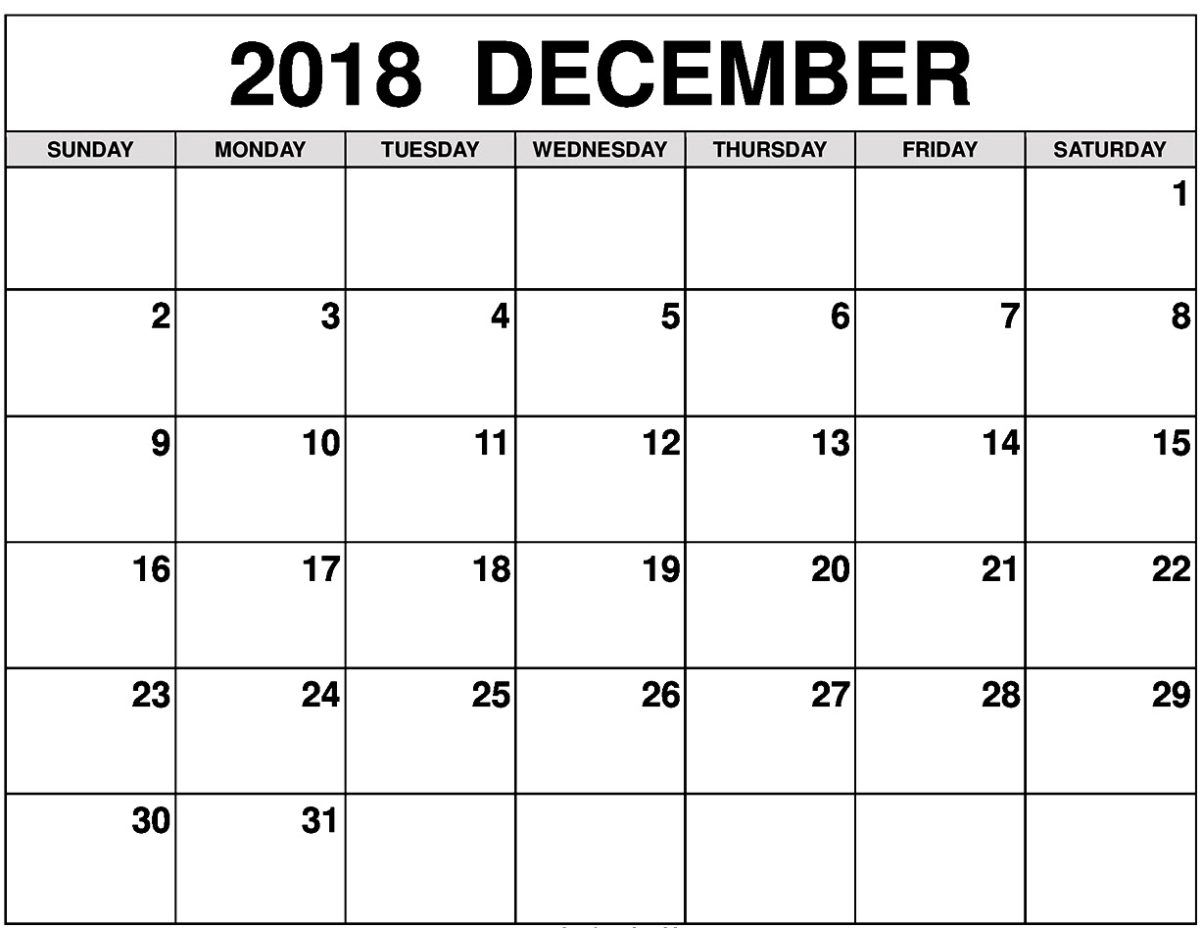 December 2018 Printable Calendar Decembercalendar2018monthly
