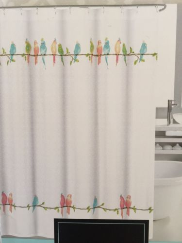 Cynthia Rowley Fabric Shower Curtain Parakeets Birds Scroll Design