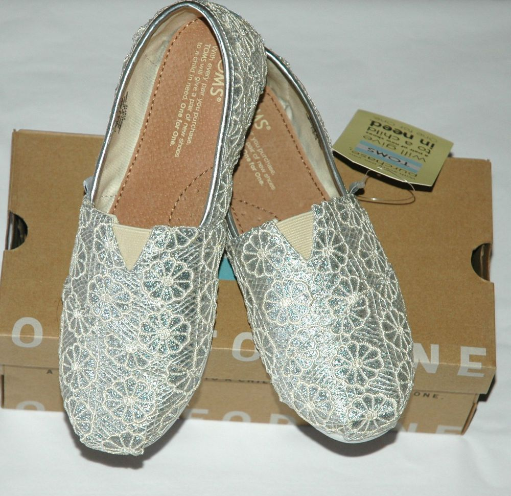 f94d9a0b4e9 TOMS Youth Girl s Silver Crochet Glitter Youth Kid s Size 4  TOMS   CasualShoes