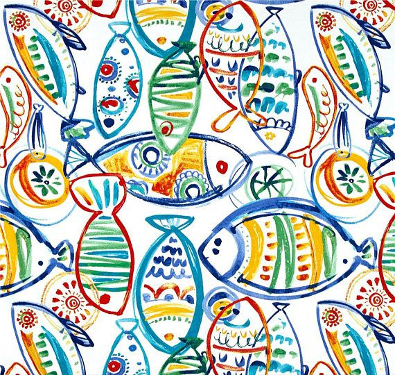 Fish Shower Curtain Ocean Theme Ocean Fabric Outdoor Fabric