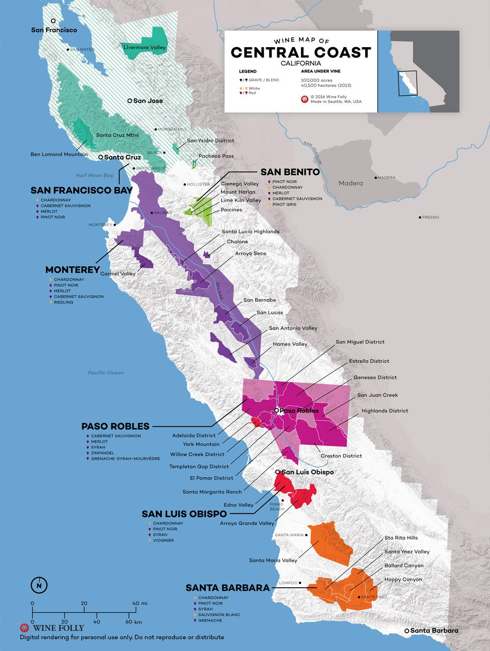 Central Coast Wine: The Varieties and Regions | Wine Maps ... on