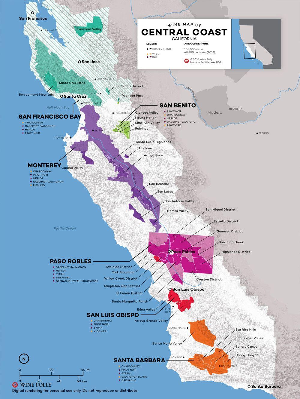 Central Coastal California Map The wine regions of Monterey, Paso Robles, Santa Barbara, Sta Rita