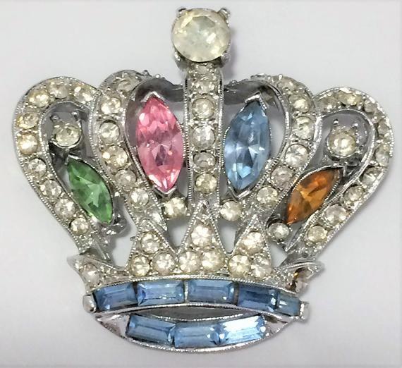Pell Pastel Rhinestone Crown Brooch, Figural Pin, Pink