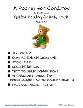 A Pocket For Corduroy Guided Reading Activity Pack Guided