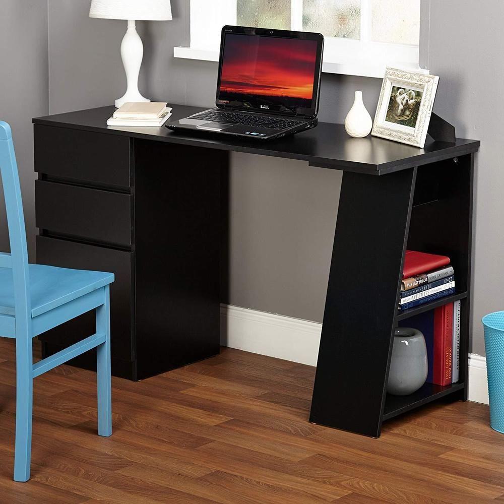 Enterprise Large Computer Desk Workstation With Shelves Drawers Oak In 2020 Computer Table Design Office Table Design Furniture