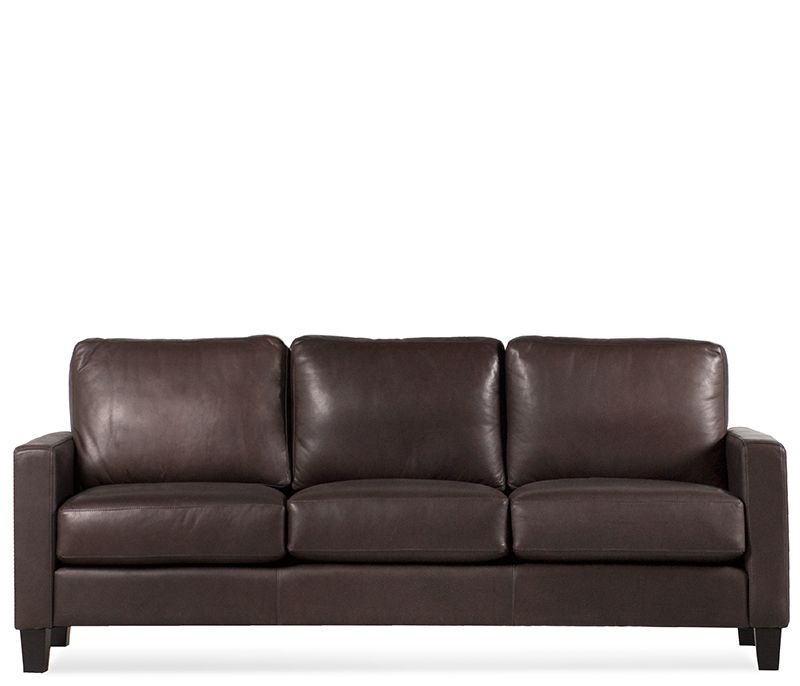The Mirabel Leather Sofa Is Sleek And Stylish In A Supple Cocoa Top Grain Aniline With Espresso Legs Clean Lines Slim Track Arms