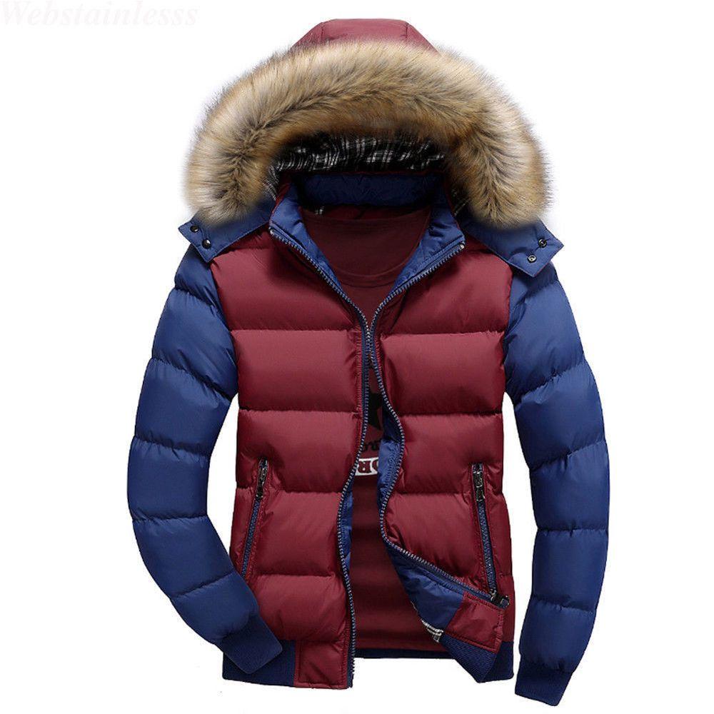 Winter Hooded Fur Collar Thick Jacket Slim Overcoat Parka Outwear Coat   fashion  clothing  shoes  accessories  mensclothing  coatsjackets (ebay  link) 102fea36551