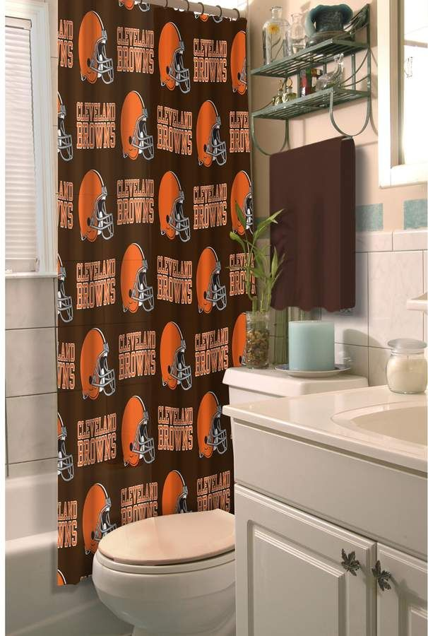 Cleveland Browns Shower Curtain With Images Brown Shower Curtain Fabric Shower Curtains Shower Curtain