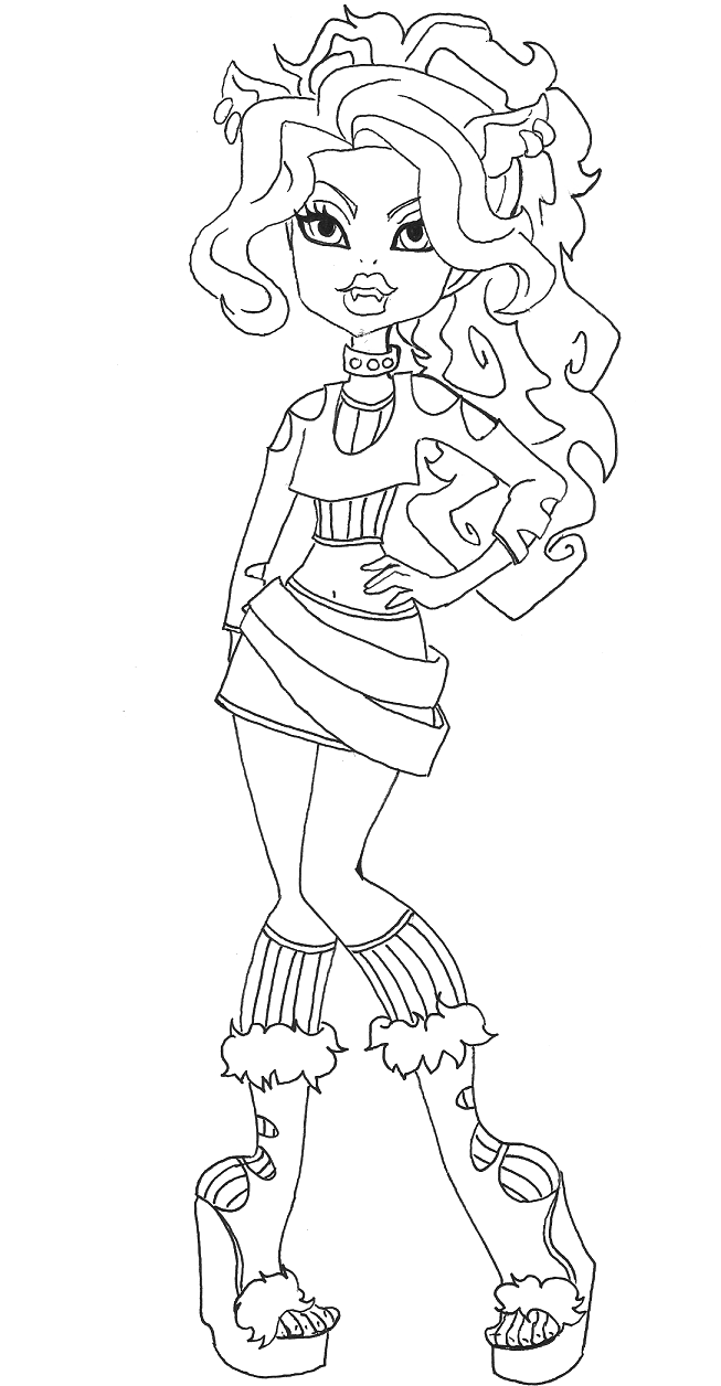 Clawdeen Wolf Style Coloring Pages Monster High Coloring