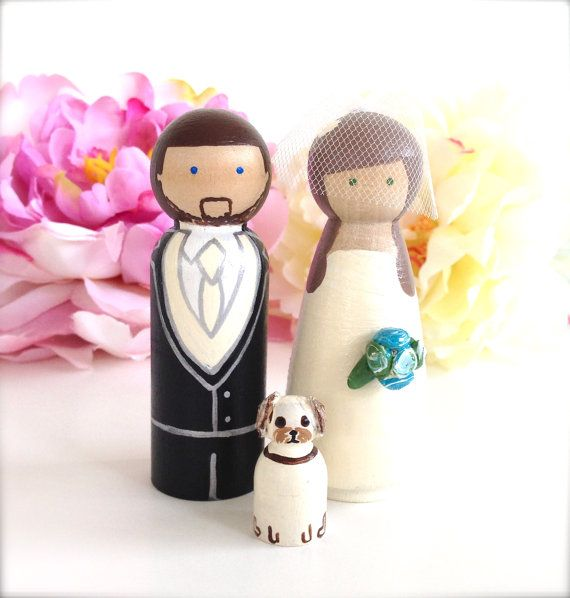 WEDDING TOPPERS with Pet Custom Wedding Cake Topper Bride and Groom 1 Pet Cat Dog Custom Peg Doll Wooden Cake Topper People Topper on Etsy, $73.26 CAD