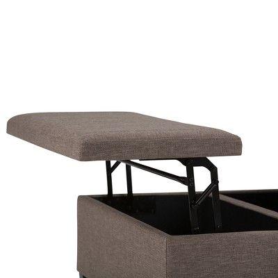 Amazing Ellis Coffee Table Storage Ottoman Fawn Brown Simpli Inzonedesignstudio Interior Chair Design Inzonedesignstudiocom