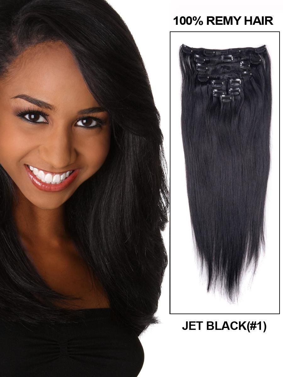 16 Inch 8pcs Straight Brazilian Clip In Remy Hair Extensions 1 Jet