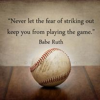 "Photo of Baseball Fine Art Print ""Never Let the Fear of Striking Out Keep You From Playing The Game"" – Your choice of paper or canvas and selection of sizes"