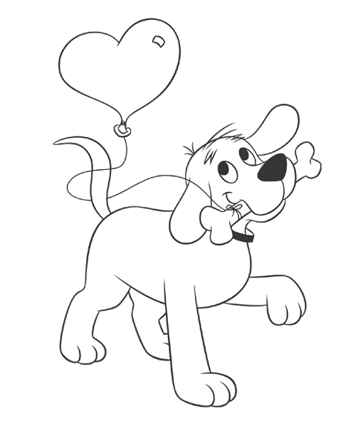 Here S Clifford With A Balloon For You Give Someone Special A Clifford Themed Valent Valentine Coloring Pages Valentines Day Coloring Page Valentine Coloring