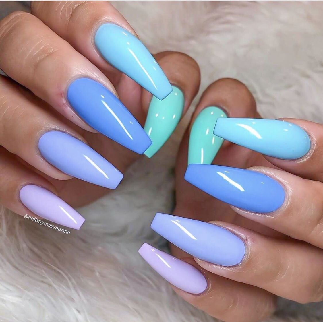 Vacation Nails Spring Long Coffin Rainbow Purple Blue Coffin