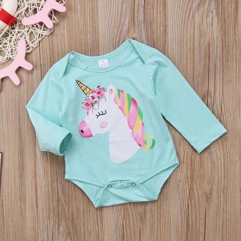 Infant to Toddler Baby Girl Unicorn Jumpsuit Long Sleeve Playsuit Onesie -  Unicorn Clothing  64179c8dc