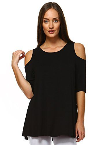 92429d8f525fcc Cold Shoulder Tops For Women Aline Swing Tunic Tops For Leggings Made In  USA Plus Size 1X Black     Click image for more details.Note It is  affiliate link ...