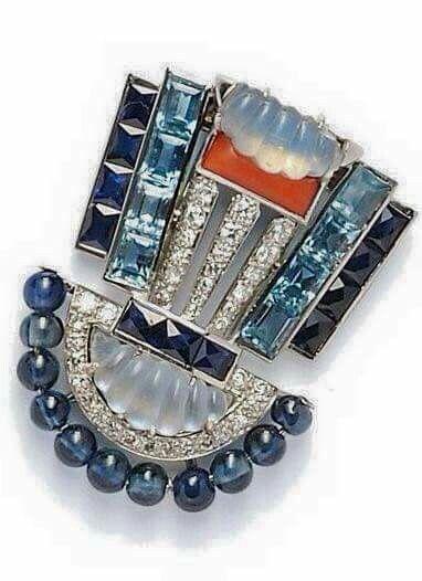 Platinum, Moonstone, Sapphire, Aquamarine & Diamond with Coral Accent Brooch by Oscar Heyman, 1920s