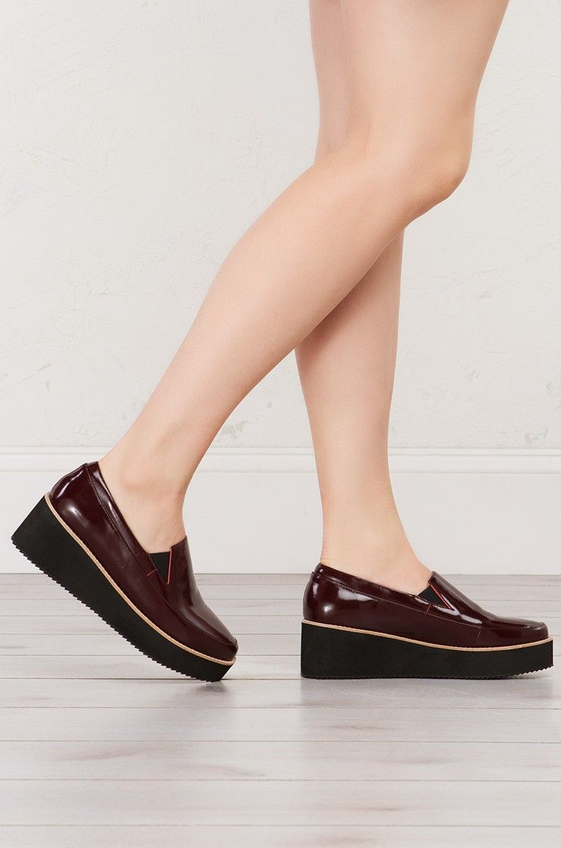 8285a19384d Sol Sana Slip On Platform Shoes in Burgundy and Black