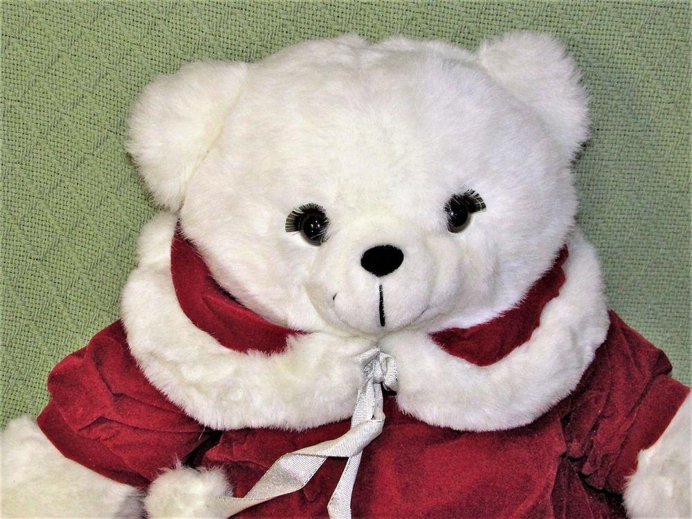 1989 K Mart CHRISTMAS TEDDY Bear Vintage Dan Dee GIRL White Red ...