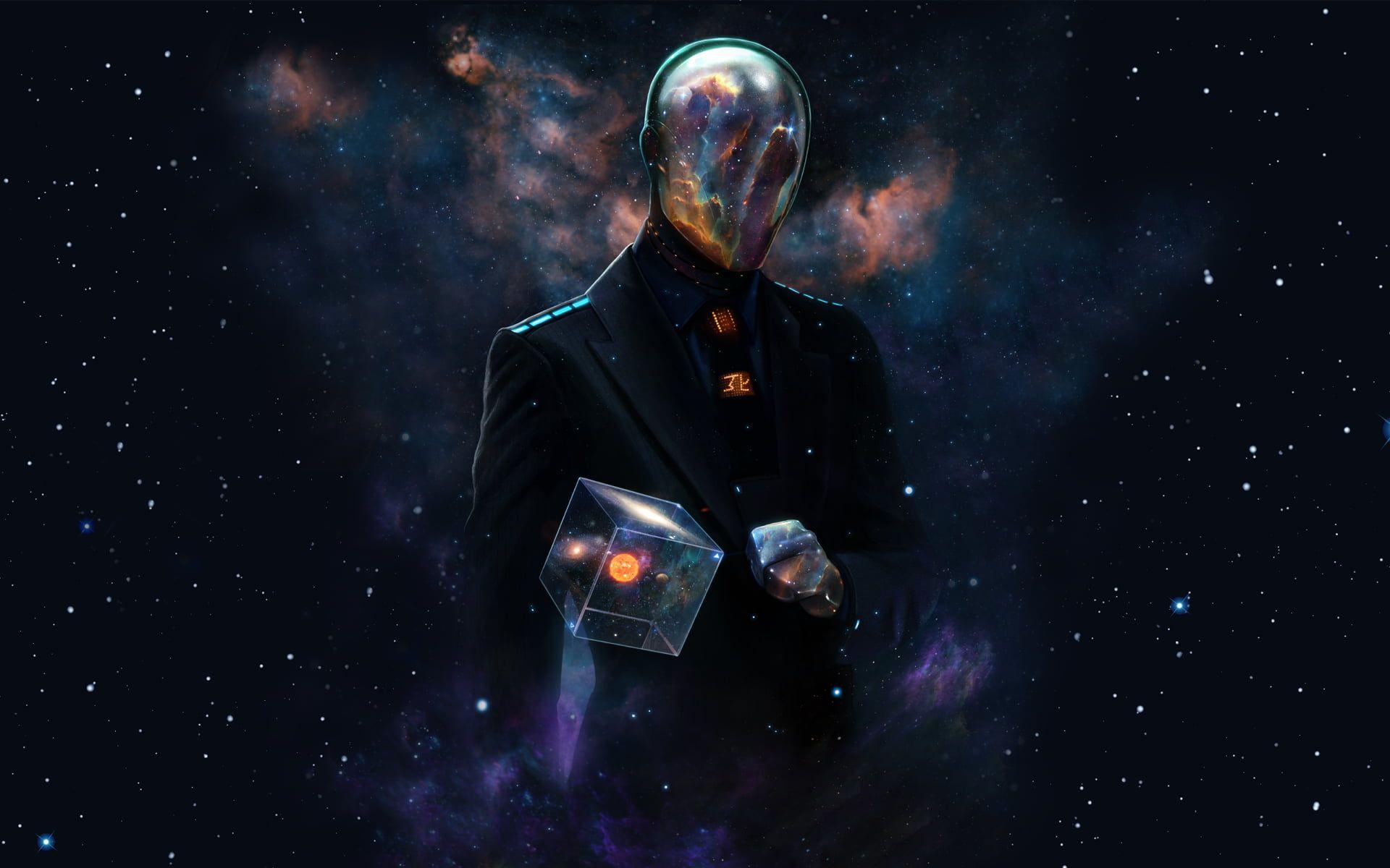 Person Wearing Black Blazer Digital Wallpaper Space Universe