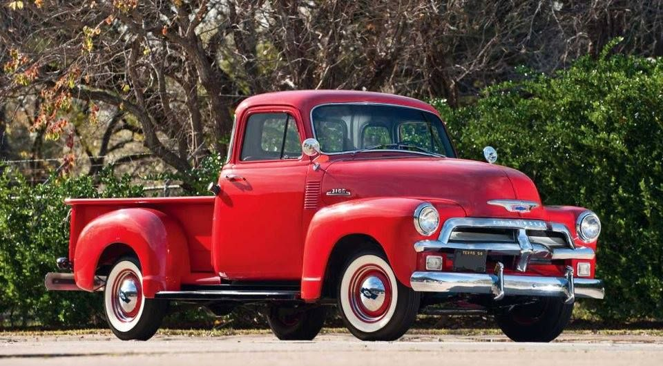 1954 Chevy Red Chevrolet Pick Up Truck With White Wall Tires Pickup Trucks Chevrolet Pickup Vintage Pickup Trucks