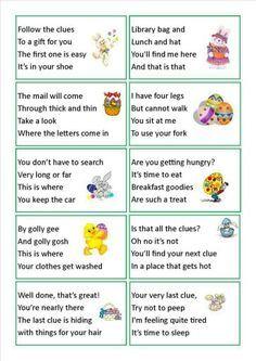 Image result for scavenger hunt riddles for kids | Easter ...