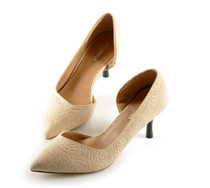 Elegant Pointed Toe and Embossed Design Pumps For Women