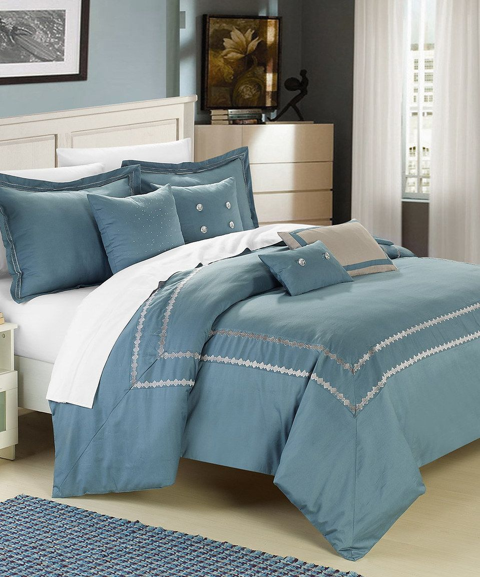 blue & silver mandalay embroidered comforter set | home design