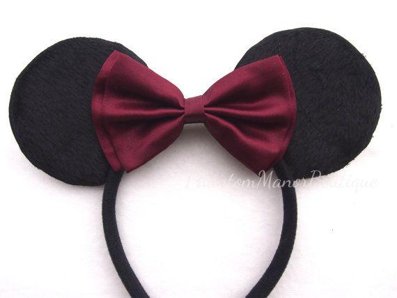 Minnie Mouse Ears - Burgandy Wine Bow Headband Wedding Mickey Disney Princess Bridesmaid