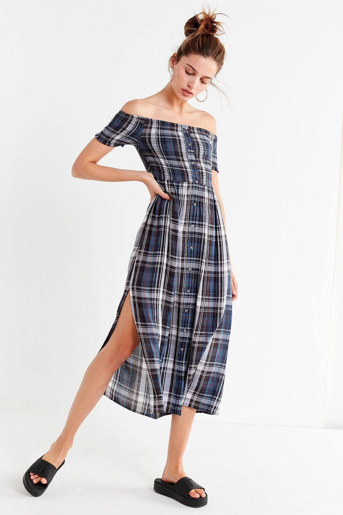 0f551ba8ed UO Monica Smocked Off-The-Shoulder Midi Dress
