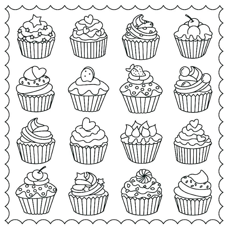 Cupcake Coloring Page Pages Cup Cake Cupcakes Colouring Free
